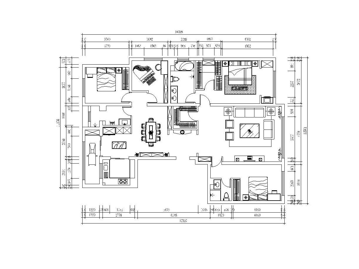 林荫大院206平米装修户型分析