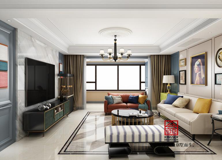 荣盛华府-美式风格-客厅