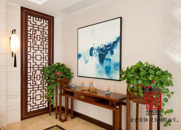 江南新城别墅装修-新中式-玄关