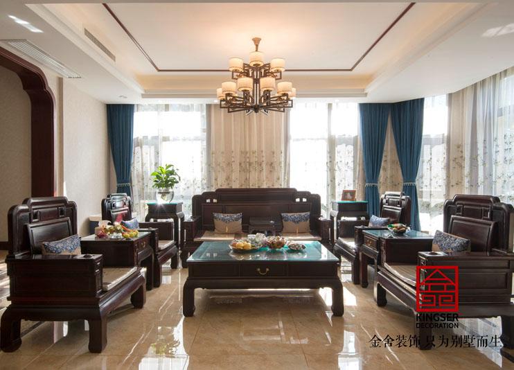 江南新城别墅装修-新中式-客厅
