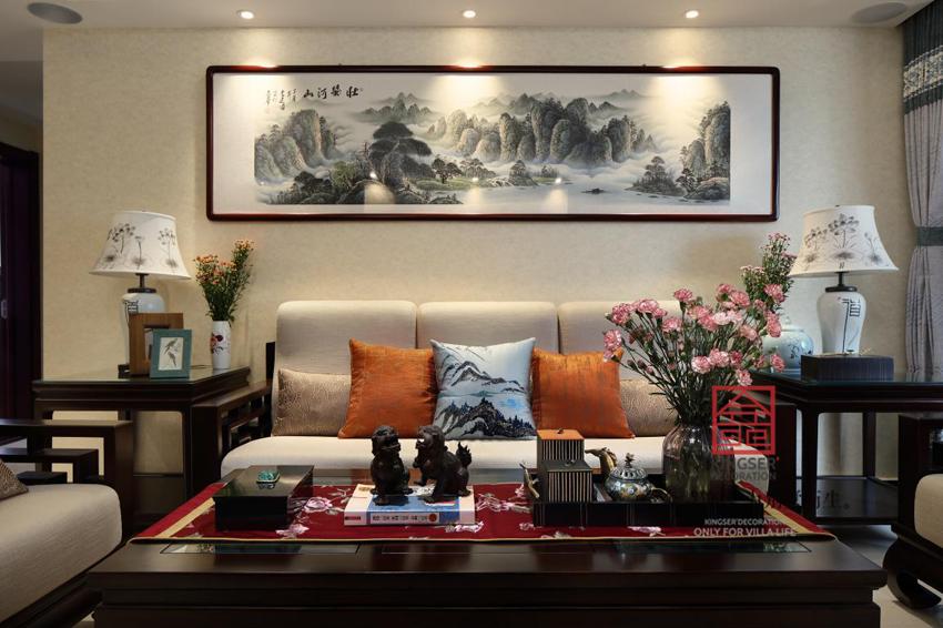 启锐园140平米-新中式-客厅