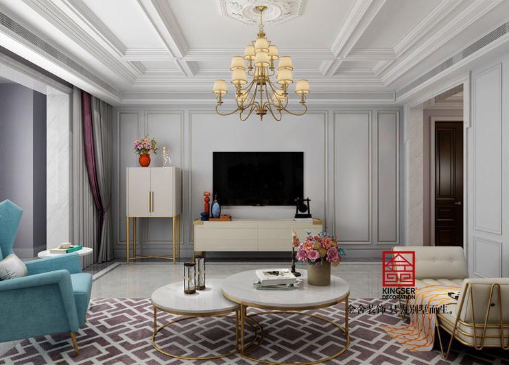荣盛华府400平米简美风格-客厅