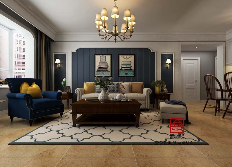 瀚唐二期-美式风格-客厅