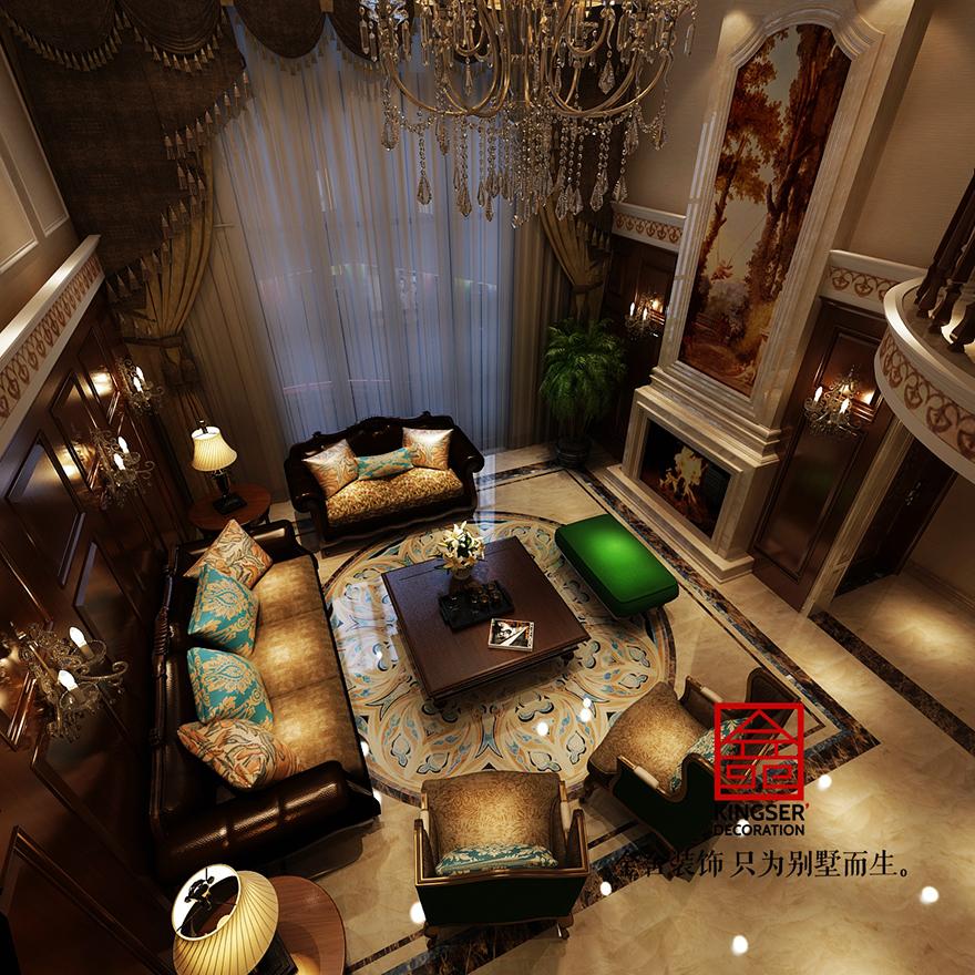 原河名墅别墅装修-美式风格-休息室