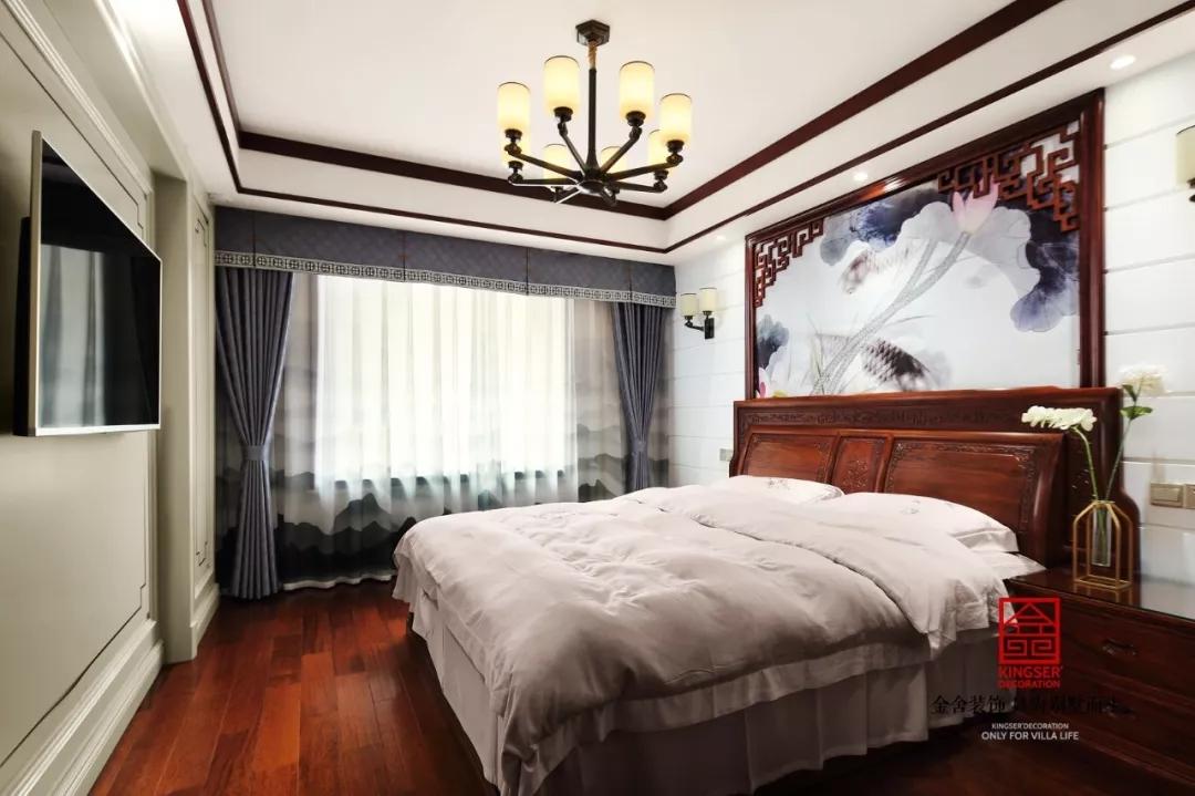 保利拉菲公馆装修-中式风格-卧室