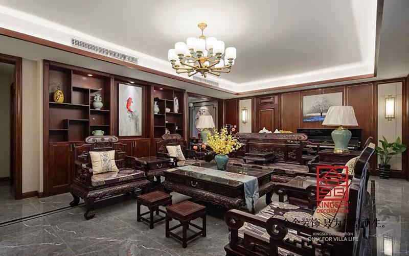 国宾壹号装修实景-中式风格-客厅