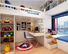 儿童房高低床设计,为孩子创造一个安乐窝,很实用