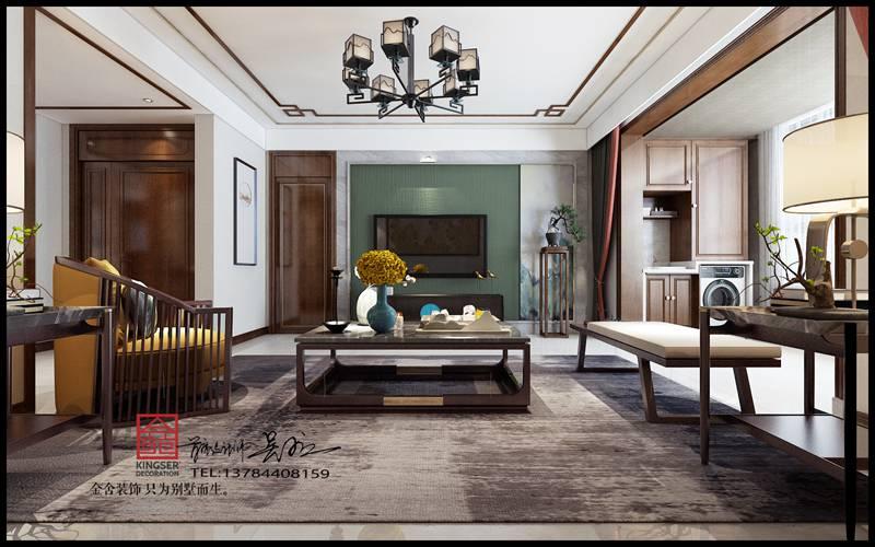 荣盛华府中式风格装修-客厅
