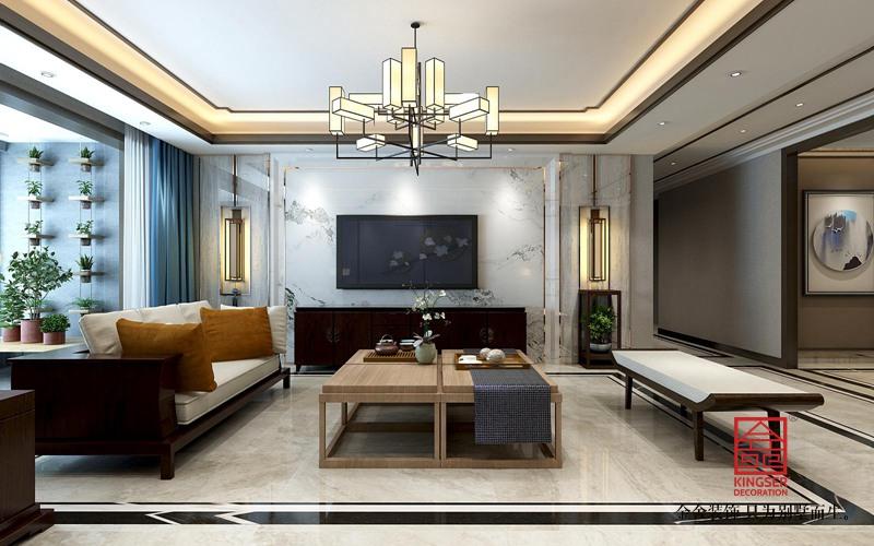 融创中心217平米装修-中式风格-客厅