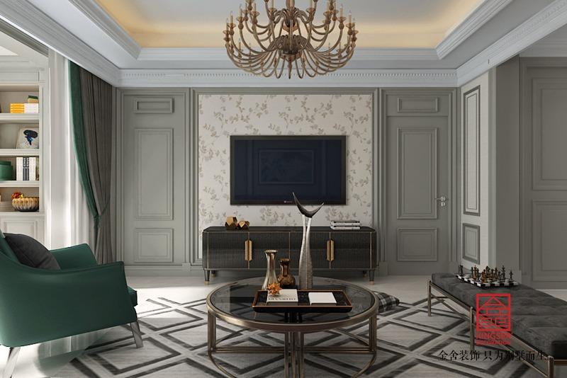 融创中心155平装修-简美风格-客厅