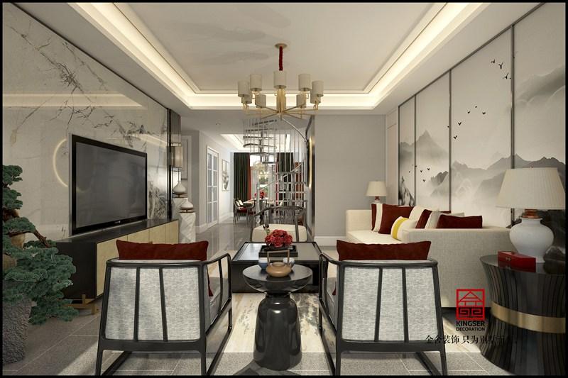 金悦府220平米新中式装修效果-客厅