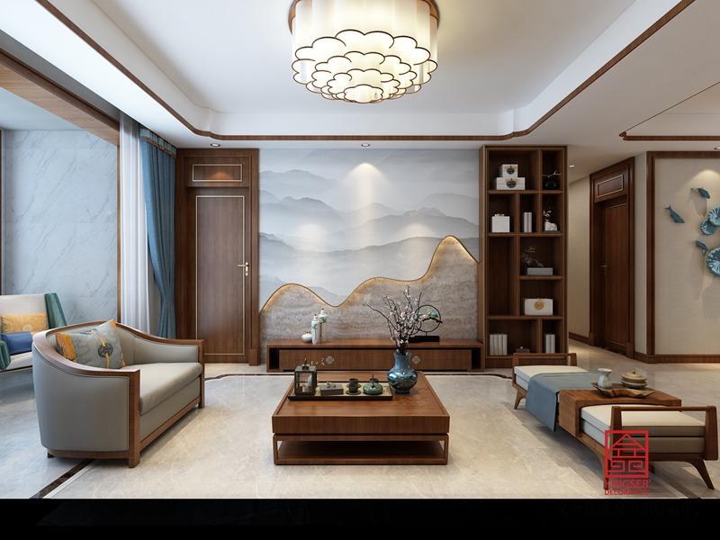 东南智汇城156平米装修-中式风格-客厅