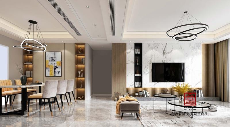 龙湖天宸原著200平中式装修图-客厅
