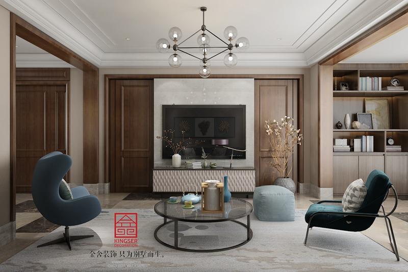 德贤公馆160平米装修-现代简约-客厅