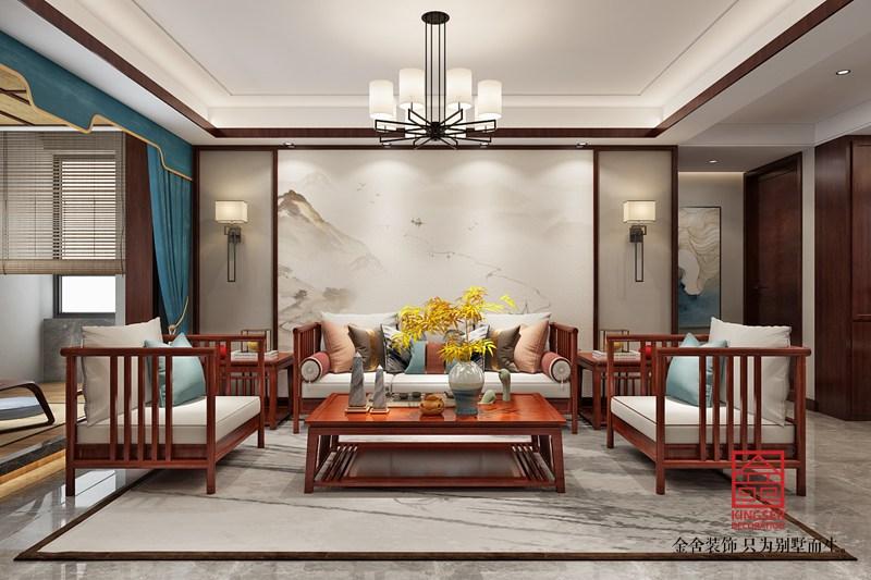 东南智汇城132平装修-新中式风格-客厅