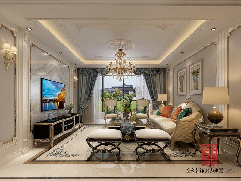 东南智汇城170平米欧式风格装修-客厅