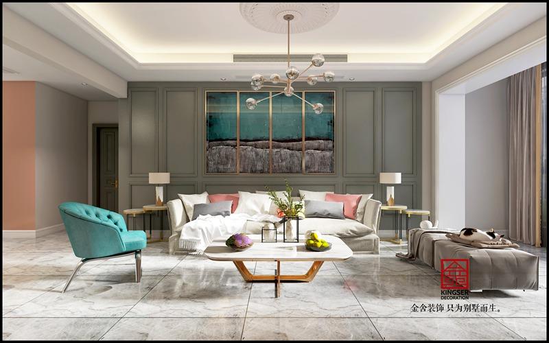 金悦府129平米现代轻奢装修-客厅