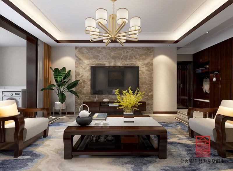 东南智汇城170平米中式风格装修-客厅