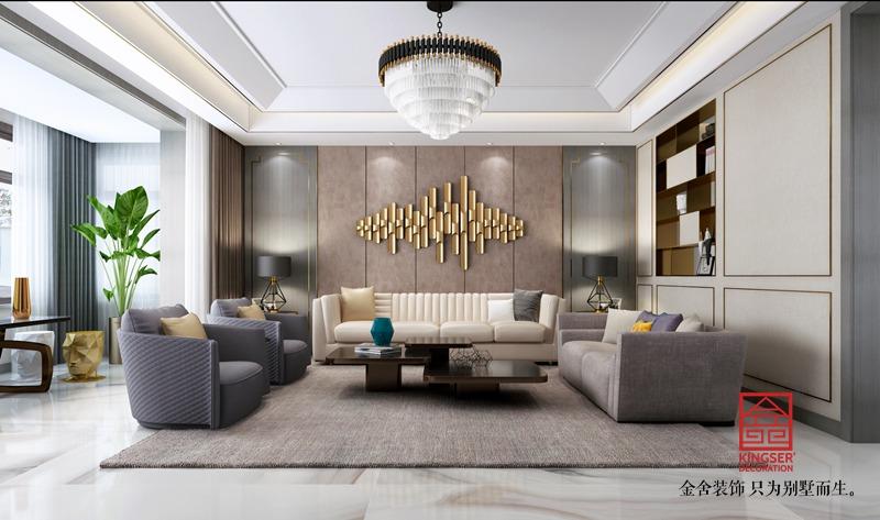 荣盛华府198平米装修-轻奢风格-客厅