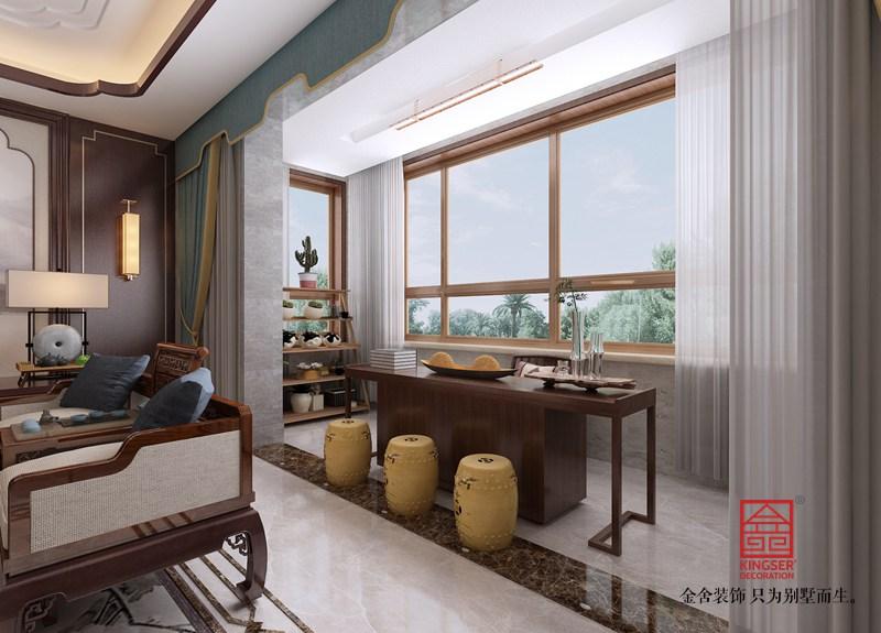 荣盛华府200平米装修-中式风格-阳台