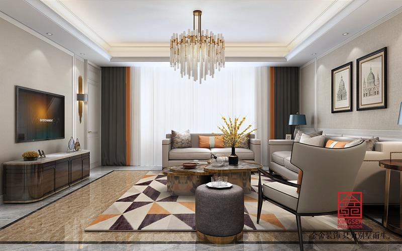 荣盛华府213平美式风格装修-客厅