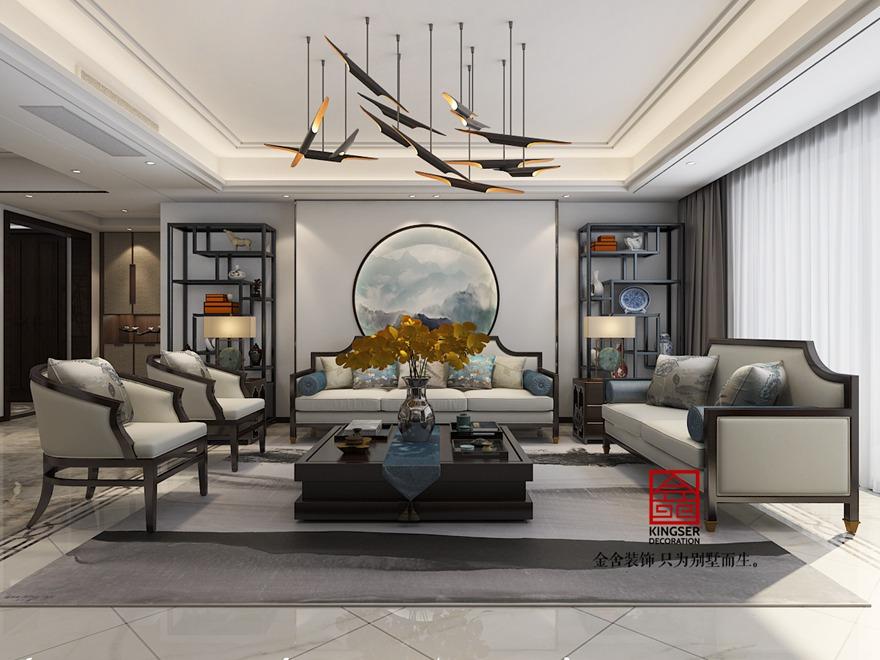 御河上院200平米装修-新中式风格-客厅