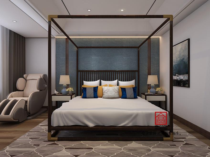 御河上院200平米装修-新中式风格-卧室