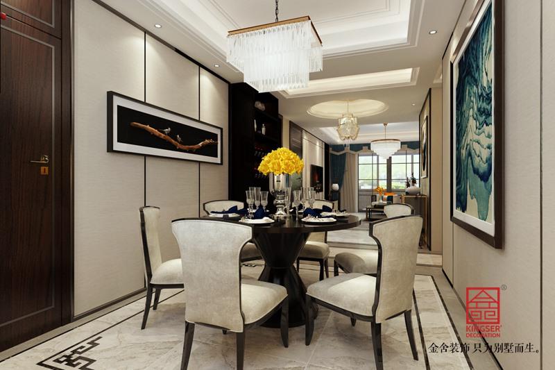 保利拉菲公馆172平米装修-新中式风格-餐厅