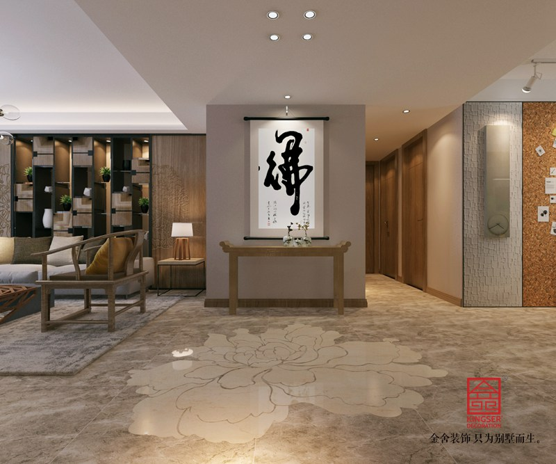 保利拉菲公馆172平米装修-新中式风格-玄关