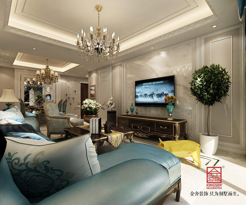 中冶德贤公馆123平米装修-混搭风格-客厅