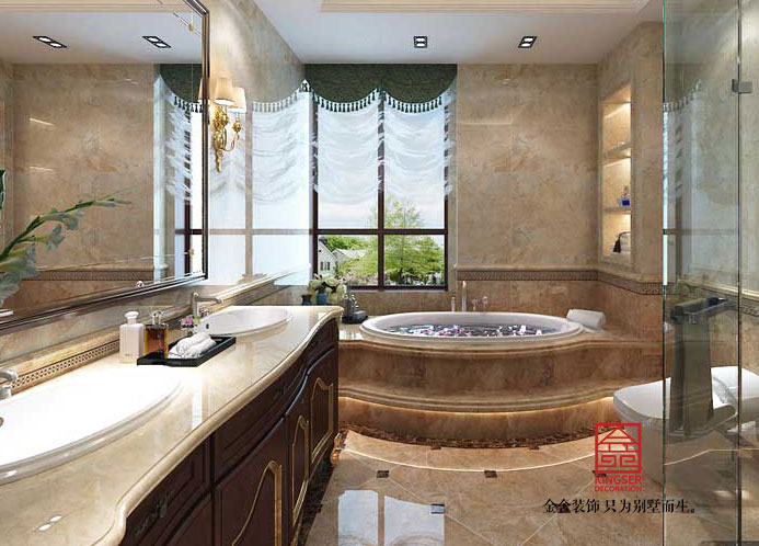 西山林语303平米美式风格装修-卫生间