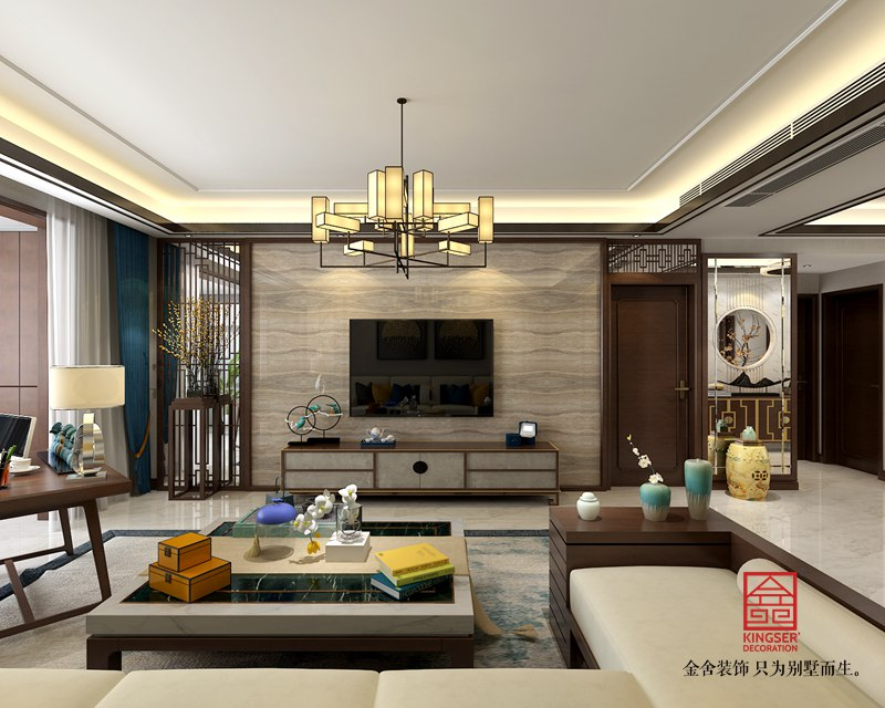 御河上院176平米装修-新中式风格-客厅