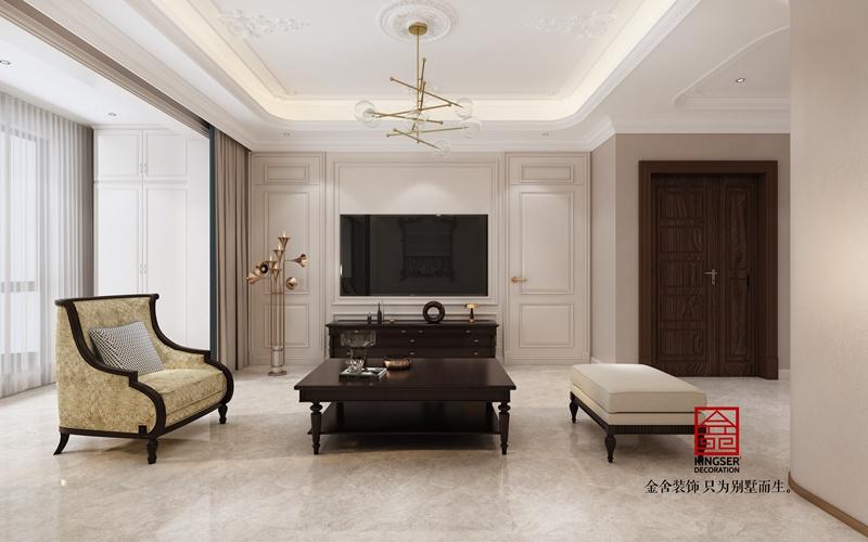 融创中心155平新古典风格装修设计-客厅