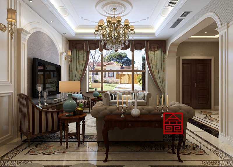 大者别墅300平米装修-美式风格-客厅