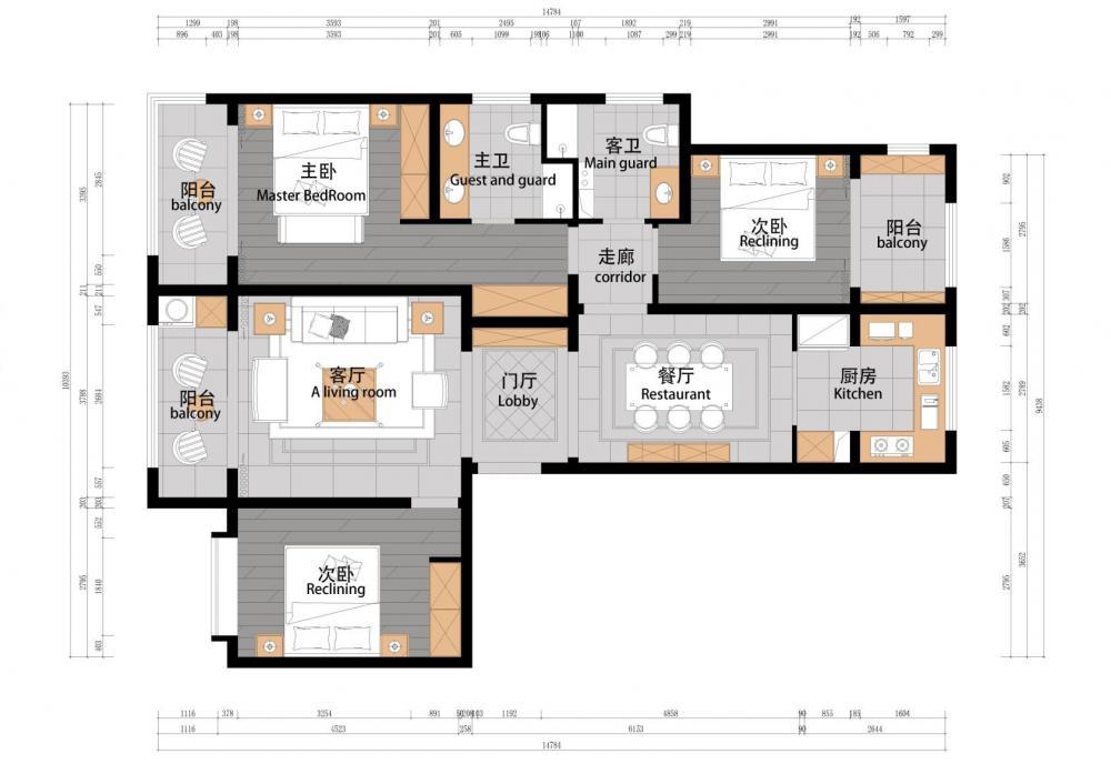 融创中心155平新古典风格装修设计图
