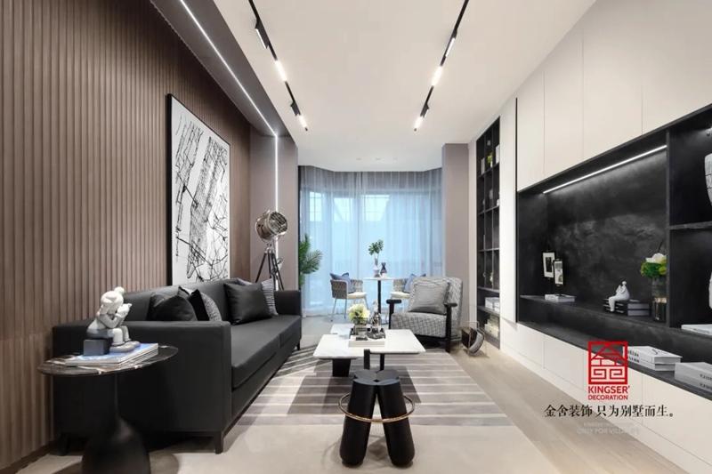 亨伦观唐名邸89平米装修-现代风格-客厅