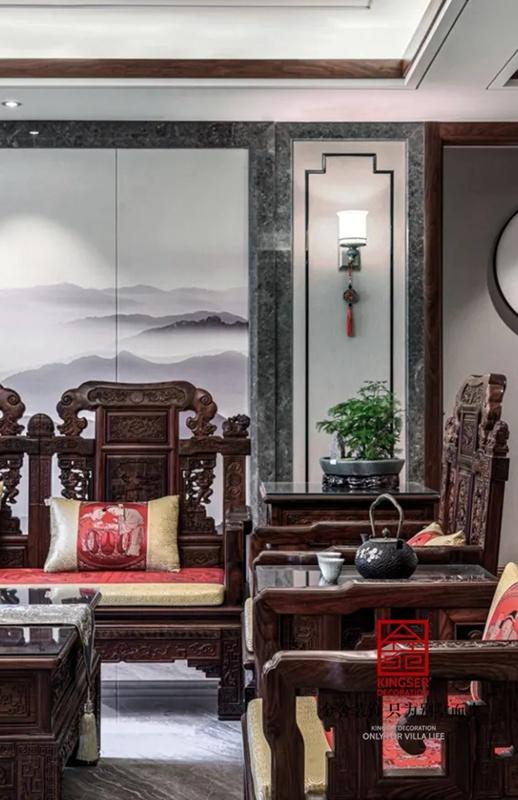 天山国宾壹号188平米新中式风格装修实景