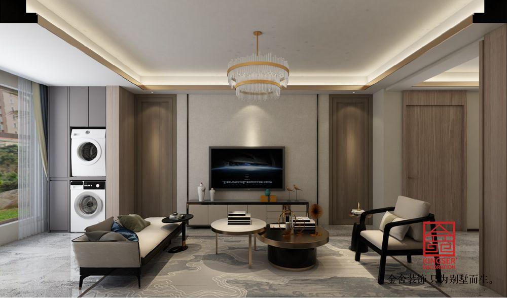 融创中心180平装修-新中式风格-客厅