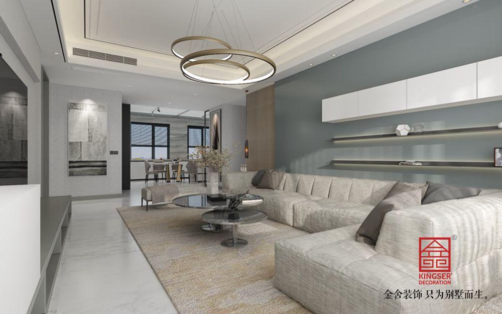 融创中心217平港式风格装修-客厅