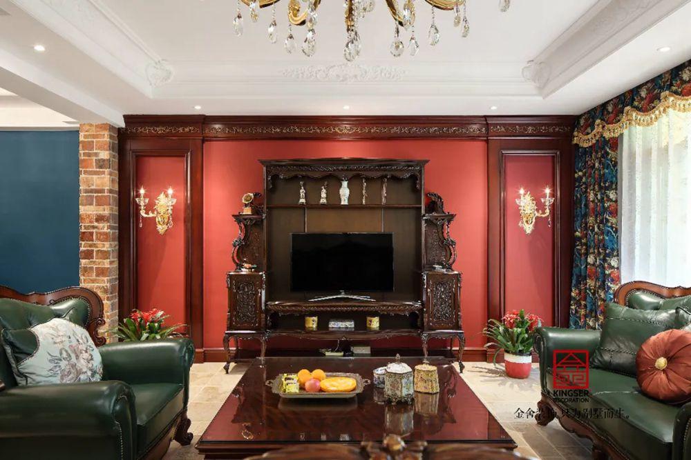 上山间别墅装修-美式风格-客厅