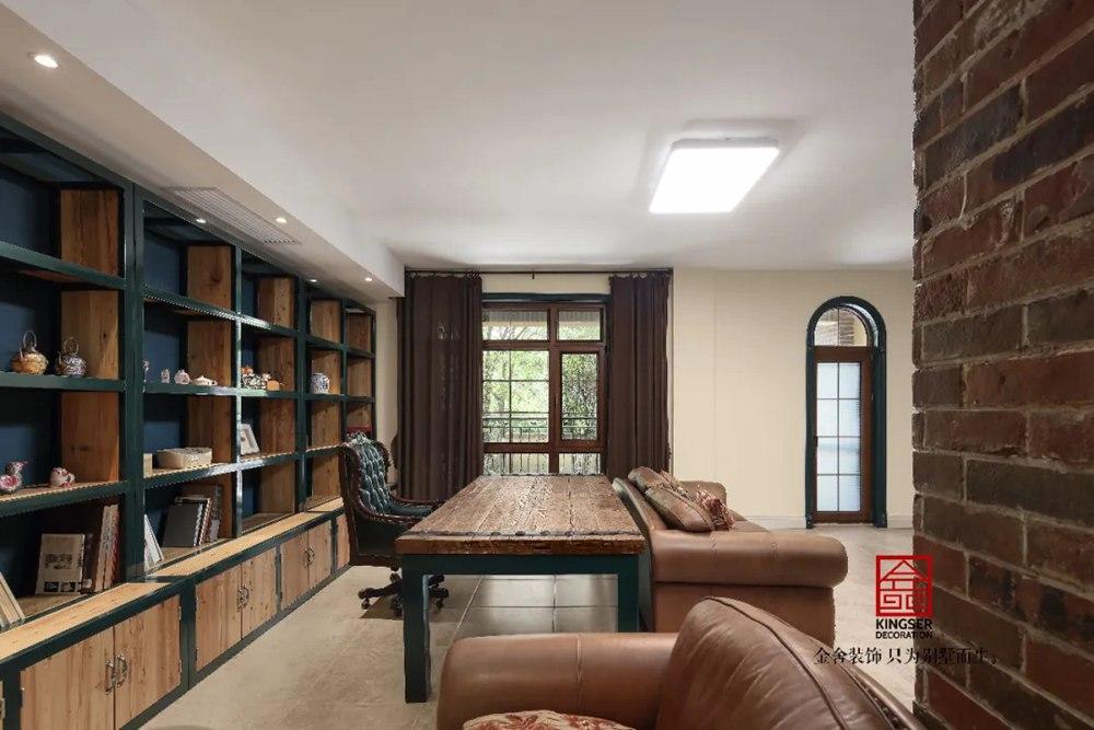 上山间别墅装修-美式风格-书房