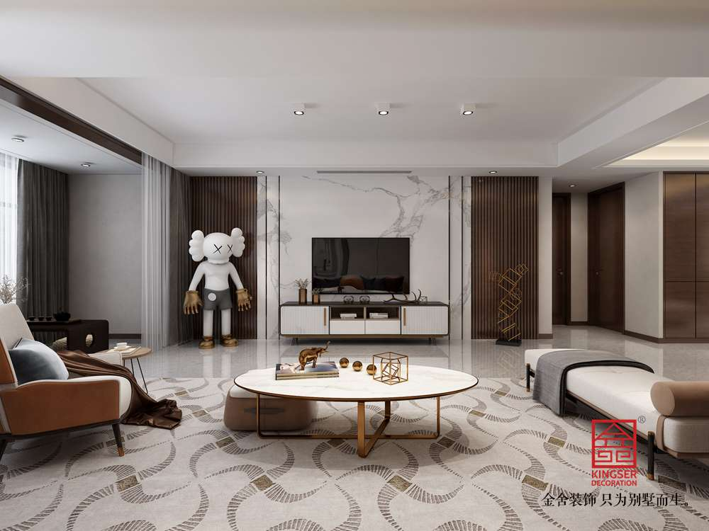 墅洋居礼215㎡装修-新中式风格-客厅