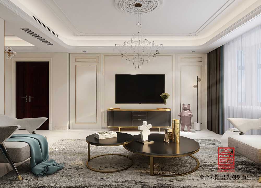 鑫界王府170平米装修-美式轻奢-客厅