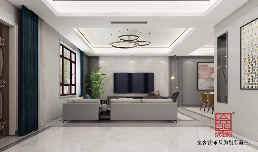 西山林语260平极简风格装修-客厅