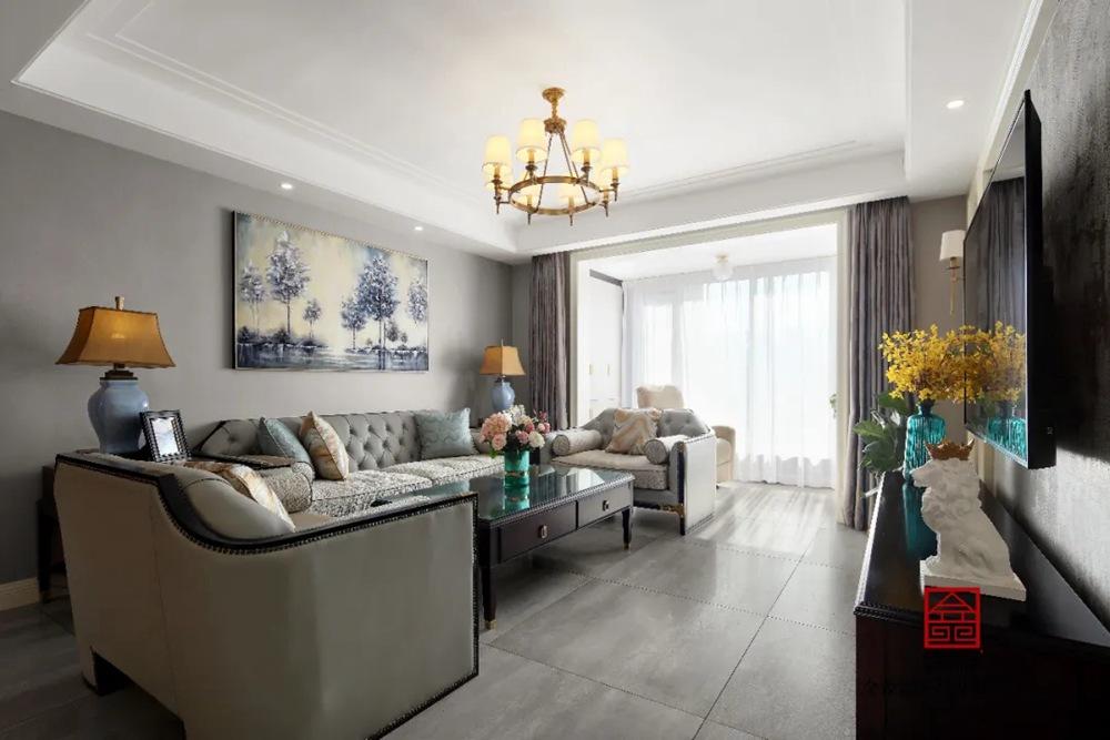 保利拉菲公馆170平米装修-美式风格-客厅