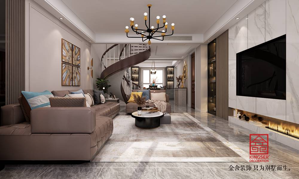 东南智汇城191平米美式风格装修-客厅