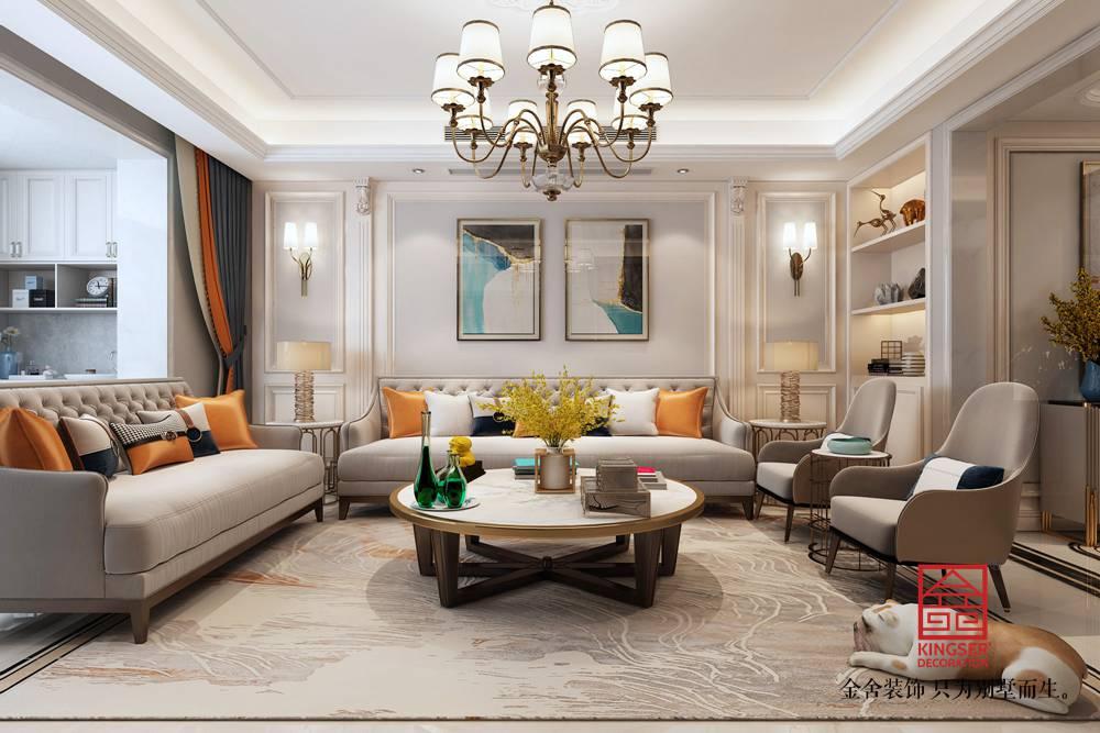 东南智汇城191平米装修-美式风格-客厅