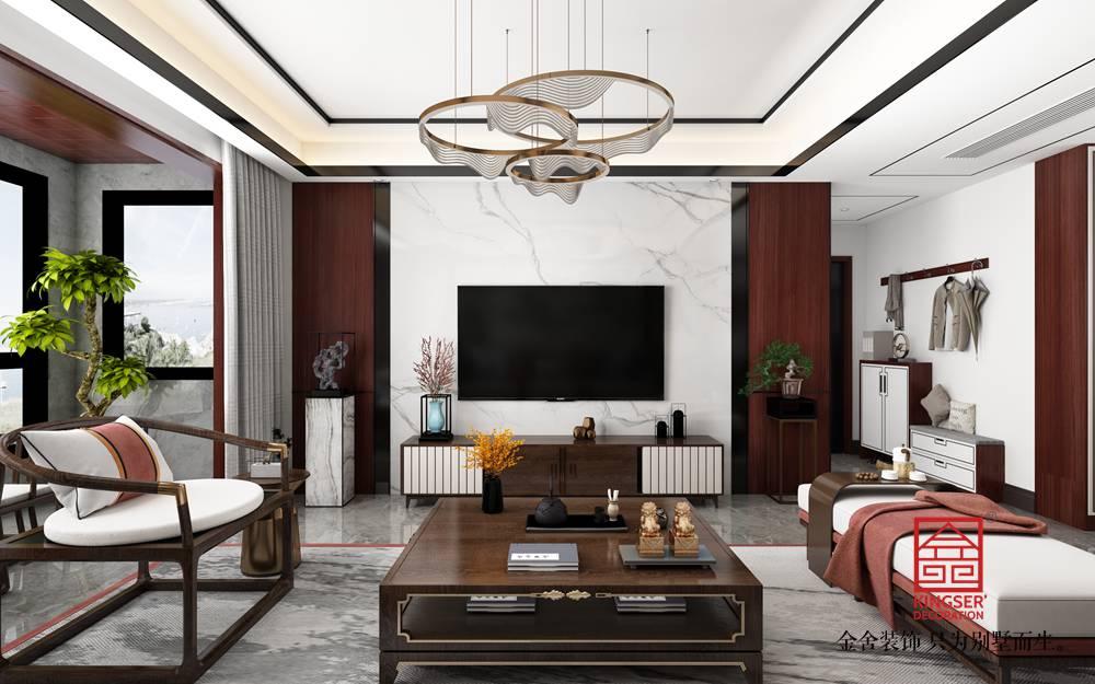东城国际140平新中式风格装修-客厅