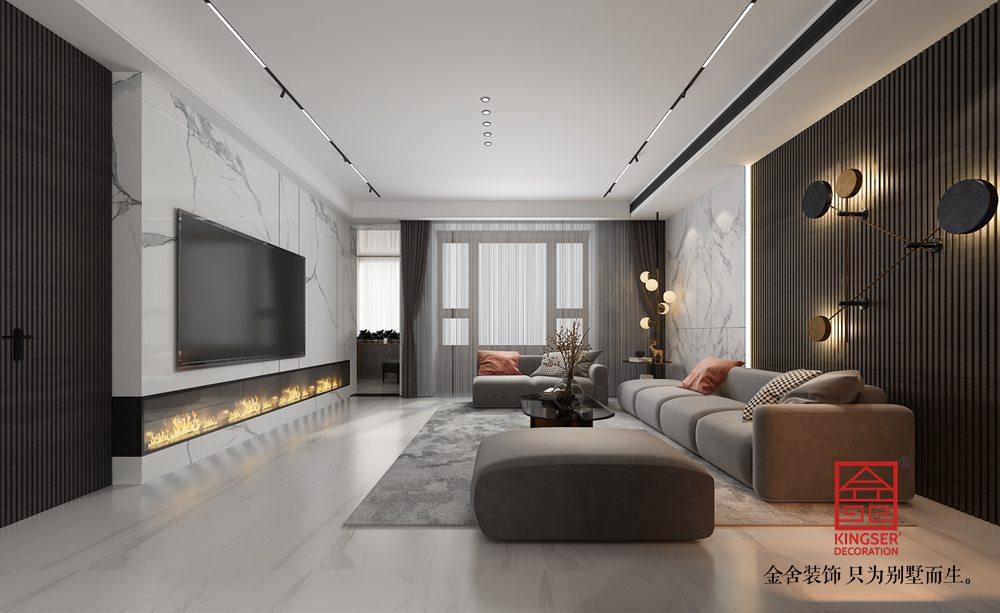 荣盛华府178平米装修-现代风格-客厅