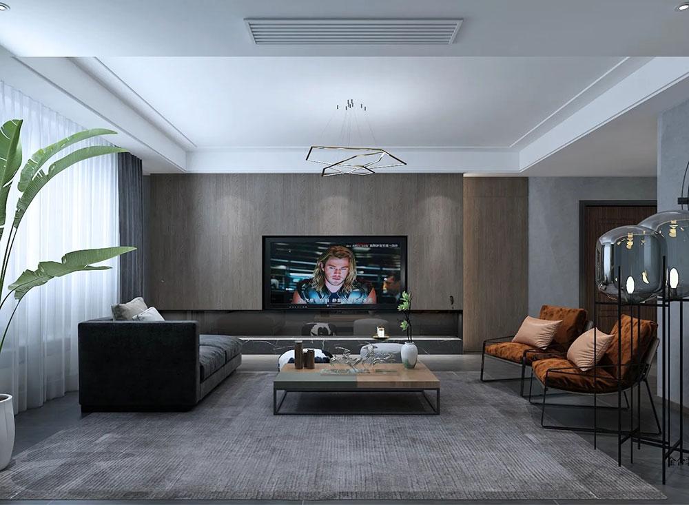 荣盛华府178平米装修-现代简约风格-客厅